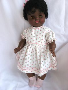 """16"""" doll, with sleep eyes, nurser mouth wetting, with handmade doll clothes Reliable Canada Topsy Doll Afro American 1963"""