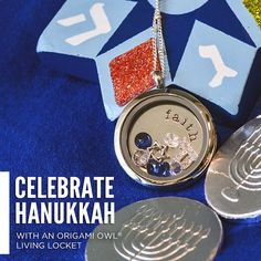 Celebrate Hanukkah with this Origami Owl Living Locket - To place your order, visit my website at http://yourcharminglocket.origamiowl.com/ or if you have further questions, OR LOOKING FOR A RETIRED OO PRODUCT, message me on Facebook. https://www.facebook.com/YourCharmingLocket.