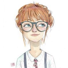 Ella es Mina y creemos que quiere ser zoóloga. _______________ She is Mina and we think she wants to be a zoologist. Cartoon Kunst, Cartoon Art, Cute Drawings, Drawing Sketches, Arte Tim Burton, Character Illustration, Illustration Girl Glasses, Anime Comics, Cute Art
