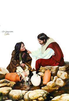 Christ-and-the-Samaritan-woman- by sama by samasmsma on DeviantArt Jesus Stories, Sunflowers, Jesus Christ, Disney Characters, Fictional Characters, Deviantart, Album, Woman, Disney Princess