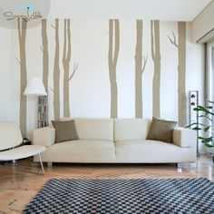 Woodland Trees Set of 8 Vinyl Wall Decal by SissyLittle on Etsy Tree Decals, Vinyl Wall Decals, Little Designs, Colour List, Warm Grey, All Wall, Tree Wall, Photo Colour, Indoor