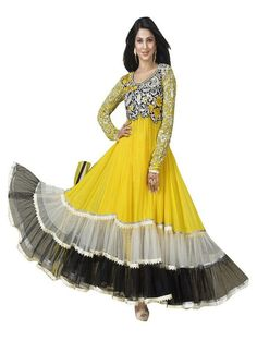 Jenifer Winget Yellow Coloured Georgette Thread Work Long Semi Stitched Indian Designer Anarkali Suit At Best Price By Uttamvastra - Online Shopping For Women