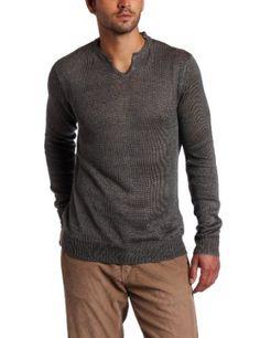 Calvin Klein Sportswear Men`s Long Sleeve Notched V-Neck Linen Sweater $89.50