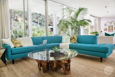 Kelly Oxford's Palm Springs-Inspired Paradise by Homepolish Los Angeles. Sectional by Apt2B. https://www.homepolish.com/mag/kelly-oxford-home-redesign-la