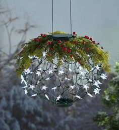 Solar+Lantern+Holiday+Wreath+Topper+|+Outdoor+Holiday+Decorations