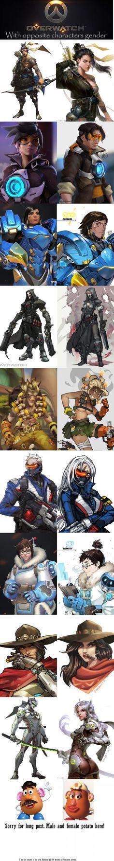 Overwatch characters in opposite gender! Overwatch Comic, Overwatch Memes, Overwatch Fan Art, Character Art, Character Design, Gender Swap, Gender Change, Fanart, Widowmaker