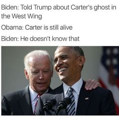 These Hilarious Obama-Biden Memes Are Exactly What The World Needs . Joe And Obama, Obama And Biden, Joe Biden, Fake Words, Political Memes, Politics, Everything Funny, Funny Cute, Funny Posts