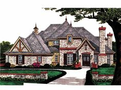 French Country House Plan with 4263 Square Feet and 5 Bedrooms from Dream Home Source | House Plan Code DHSW66550