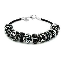 "Coastal Creations Beads ""Black Satin"" on 8 Inch Deluxe Leather Cord Pacific Beads. $39.95"