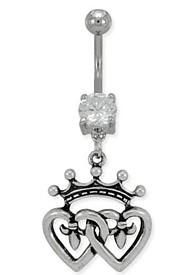 Double Heart Belly Ring Belly Button