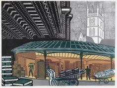 Borough Market by Edward Bawden 1967  Lithograph