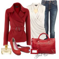 Great Outfit for Fall.  I Love Red.