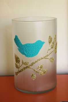 How to frost glass with Mod Podge and how to stencil with Collage Clay