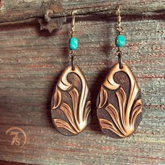 Lightweight hand tooled leather amazingness  Stratford Earrings #turquoise #handcrafted #jforks #savannah7s