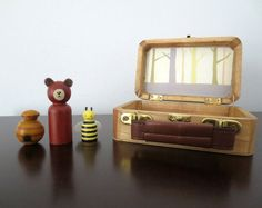 Bear, honey and bee toy gift set  wooden, hand painted