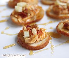 Pumpkin Bacon Goat Cheese Dip - Easy Appetizers drizzled with Honey and topped with Apples & Walnuts.  #Recipe by LivingLocurto.com