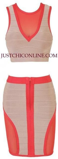 "The ""Natalie"" Coral and Tan 2pc Affordable Bandage Set. Made with high quality luxury bandage fabric. $162.00"