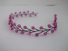 Hot pink jeweled headband, Retro jeweled hair, black and pink headband, black hair chain, prom hair accessory, hot pink hair, unique hair by ElizabethAvaDesigns on Etsy