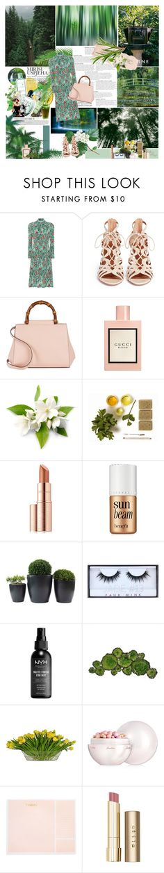"""""""Peppermint and Basil"""" by the-dawn ❤ liked on Polyvore featuring KAROLINA, DKNY, Prada, Aquazzura, Gucci, Estée Lauder, Benefit, Huda Beauty, Moe's and The French Bee"""