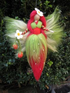 Needle Felted Wool fairy, Strawberry fairy, Waldorf inspired fairy doll. €16.00, via Etsy.