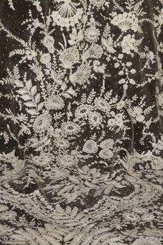 "Lily Veil"" from a Russian Count: m.m. cream net inset w/ toile of h.m. bobbin lace lilies & delicate florals in scallop pattern, 102"" x 119""..."