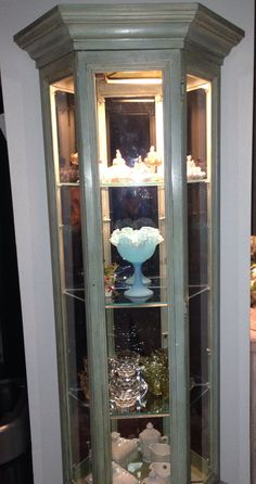Finished Curio Cabinet - done in chalkboard paint. & 140 best ANTIQUE CURIO CABINET!!! images on Pinterest | Cabinet of ...