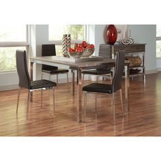Coaster Company Eldridge Collection Grey Dining Table (reclaimed grey table top with chrome legs)