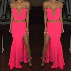 Sexy V Neck Off The Shoulder Sleeveless Side Split Red Polyester Two-piece A Line Ankle Length Dress