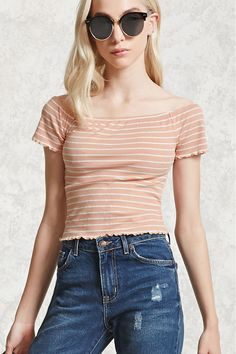 A ribbed knit top featuring an allover stripe pattern, boat neckline, ruffled trim, short sleeves, and a cropped silhouette.