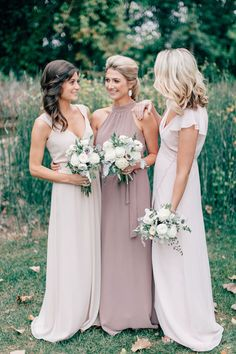 bridesmaids - muted tones - mismatched