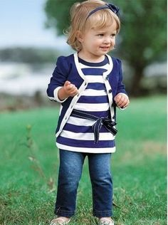 Baby Girl Kid Coat+T-shirt+Jeans Outfit Set Suit Clothing Navy Blue Fashion Kids, Little Girl Fashion, Toddler Fashion, Fashion 2016, Little Girl Style, Latest Fashion, Baby Style, Cheap Fashion, Fall Fashion