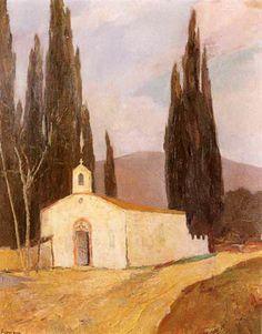 .:. Οικονόμου Μιχαήλ – Michail Oikonomou [1888-1933] Ξωκκλήσι με κυπαρίσσια