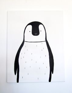 "No. 0011 - Modern Kids and Nursery Art Original Painting - 16"" x 20"" on regular 3/4"" depth canvas - The Penguin. $75.00, via Etsy."