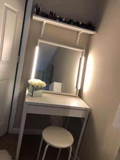 Everything Ikea, except mirrored flowers from Ross. Wanted to . Everything Ikea, except mirrored flowers from Ross. Always wanted vanity, but .Vanity cabinets & bathroom cabinetsBase cabinet for Duravit Vero 100 cm black silk Ikea Vanity, Ikea Mirror, Small Vanity, Vanity Set, Vanity With Mirror, Cute Room Decor, Glam Room, Dream Rooms, My Room