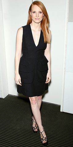 """Looking Lovely: Jessica Chastain in an LBD with cascading peplum and Casadei sandals at an N.Y.C. screening of """"Zero Dark Thirty"""""""