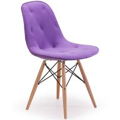 Upholstered Eiffel Chair Reminiscent of Eames classic structure, this mid-century modern chair instantly updates any dining experience. A sturdy wire steel frame and natural wood legs complement the plush tufted velour upholstery. Available in your choice of Gray, Orange, Green or Purple.