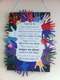 """In groep 4a...."" Poster met de regels van de klas. Met een ""handtekening"" van elk kind. Wij zijn een klas! Beginning Of The School Year, Back To School, Classroom Expectations, Conscious Discipline, Leader In Me, Class Projects, Happy Kids, School Teacher, Classroom Management"