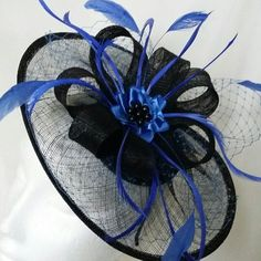 Close up of the black and royal blue Aurora fascinator hat, perfect for the Kentucky Derby