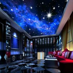 Blue Night Sky Stars Wall or Ceiling Wallpaper Custom Mural is part of Game room design - night sky wallpaper for home or commerce KTV bar evening sky stars ceiling wall paper Blue ceiling mural with bright stars Free worldwide shipping Hotel Ceiling, Sky Ceiling, Ceiling Murals, Bedroom Ceiling, Living Room Bedroom, Mural Wall, Ceiling Lighting, Dream Bedroom, Bedroom Sofa