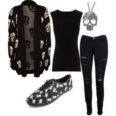 """skull outfit"" by ladyluvlett on Polyvore"