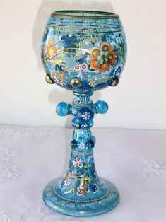 HARRACH BLUE GLASS GOBLET  ENAMELED WITH PLENTY OF COLORS AND GOLD. Circa 1875 www.madforglass.com Mason Jar Wine Glass, Glass Collection, Glass Art, Enamel, Tableware, Colors, Blue, Breakfast Nook, Crystals