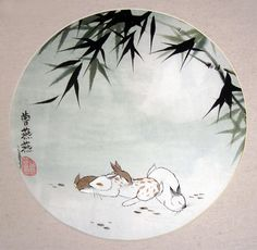 Warm Fuzzies shows a trio of rabbits in a scene of moonlit bamboo. The moon represents heaven and bamboo symbolizes longevity. By Tracie Griffith Tso of Reston, Va. Bunny Rabbits, Warm Fuzzies, Chinese Painting, Bamboo, Heaven, Scene, Moon, Symbols, Handmade