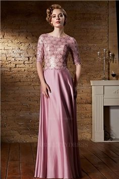 A-Line/Princess Jewel Floor-length Elastic Woven Satin Evening Dress