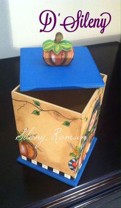 Caja decorada con motivos de calabaza. Vista 4