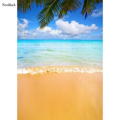 NeoBack 5x7ft Poly Vinyl Summer Sea Beach View Photo Backgrounds Photo Studio Indoor Computer Printed Children Backdrops P2283 #Affiliate