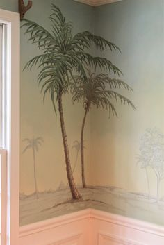 I painted palm trees in Pam's dining room
