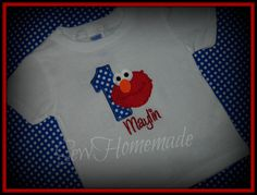 ELMO BIRTHDAY SHIRT or Onesie Personalized - Monogrammed - Embroidered - Applique - Cookie Monster - Cars - Hello Kitty. $14.00, via Etsy.