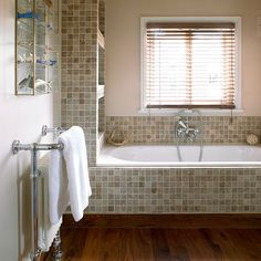 Tiled fitted shelves | Bathroom storage ideas | Bathroom | PHOTO GALLERY | 25 Beautiful Homes | Housetohome.co.uk