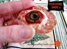 Paleo Pizza Eyeball Snacks | Grain and gluten free, Halloween appetizer. www.beautyandthefoodie.com