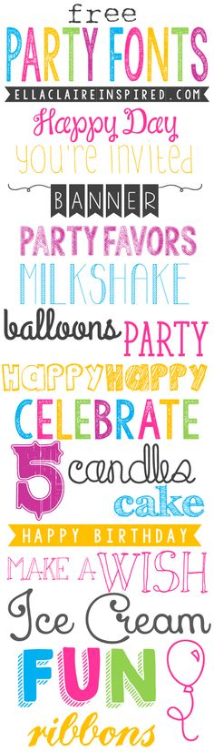 18 Adorable Free Party Fonts ~ Says: gorgeous and fun free fonts for all of your summer parties! I love all of the fun things in the summertime~ birthday parties, pool parties, picnics, play dates, and more. I hope you find this helpful when creating all